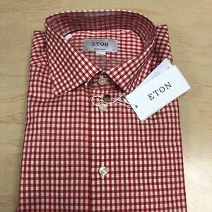 Eton Red Check Linen Blend Contemporary fit Shirt